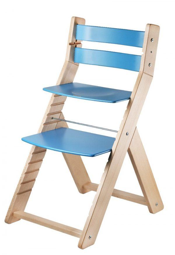 Rostoucí židle Sandy - natur lak / modrá