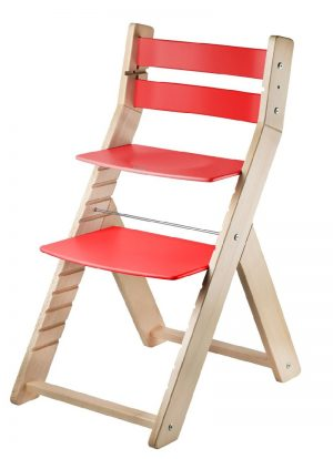 Rostoucí židle Sandy - natur lak / červená