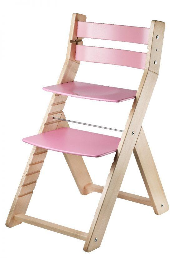Rostoucí židle Sandy - natur lak / růžová