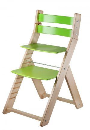 Rostoucí židle Sandy - natur lak / zelená