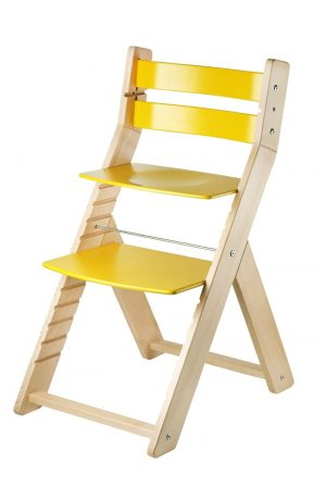 Rostoucí židle Sandy - natur lak / žlutá