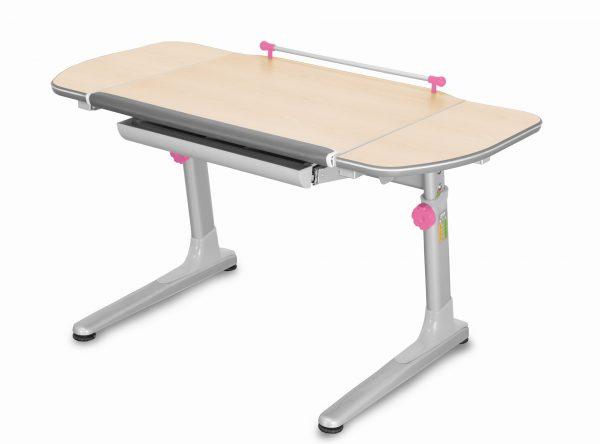 Rostoucí stůl Mayer Profi 3 5v1 javor, šedá podnož - růžové prvky