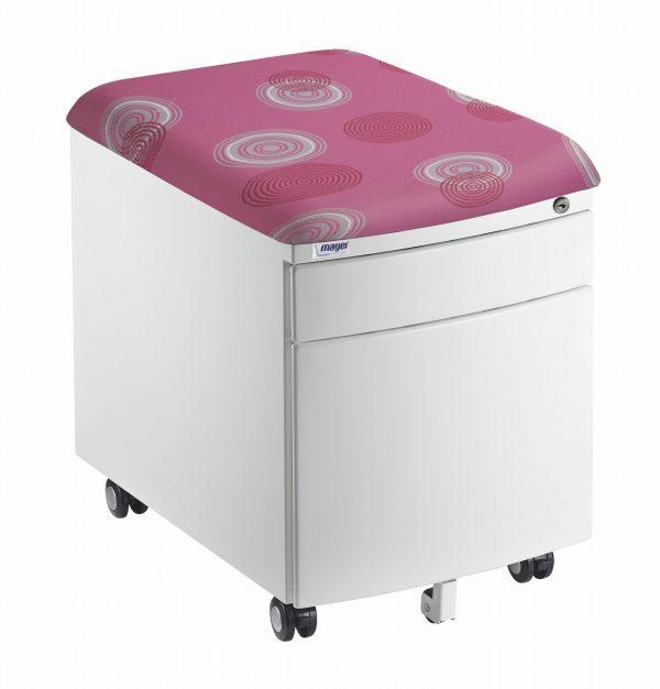 Bílý kontejner Mayer, potah růžový s kruhy