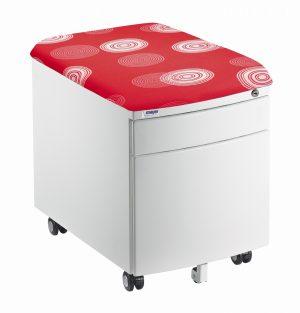 Bílý kontejner Mayer, potah červený s kruhy