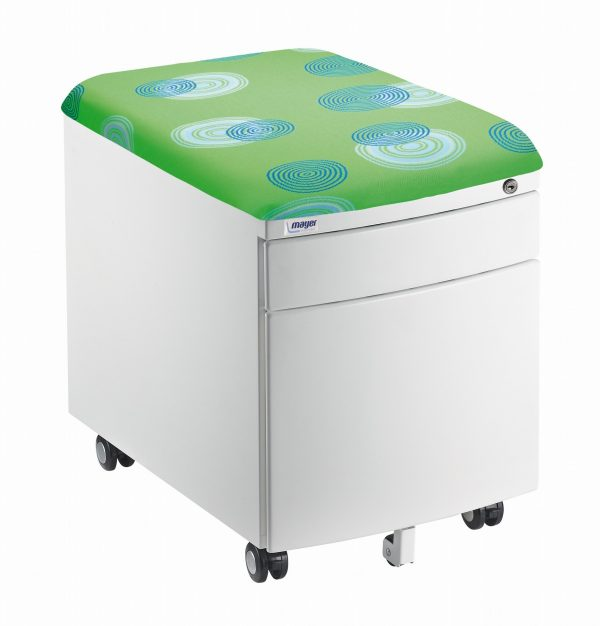 Bílý kontejner Mayer, potah zelený s kruhy