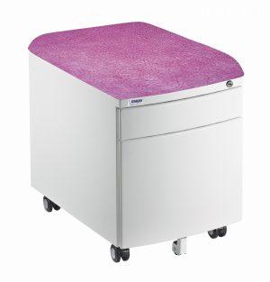 Bílý kontejner Mayer, potah aquaclean růžový