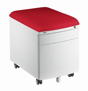 Bílý kontejner Mayer, potah aquaclean červený