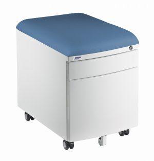 Bílý kontejner Mayer, potah aquaclean modrošedý