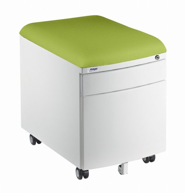Bílý kontejner Mayer, potah aquaclean zelený