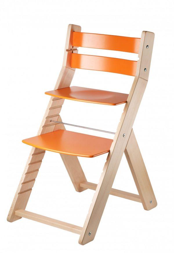 Dřevěná rostoucí židle Sandy natur / oranžová