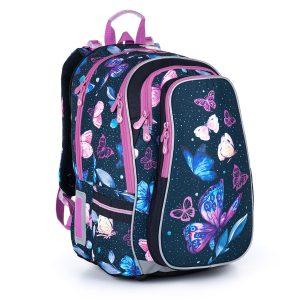 Objemný modrý batoh s motýlky a fialovými detaily Topgal LYNN 21007 G