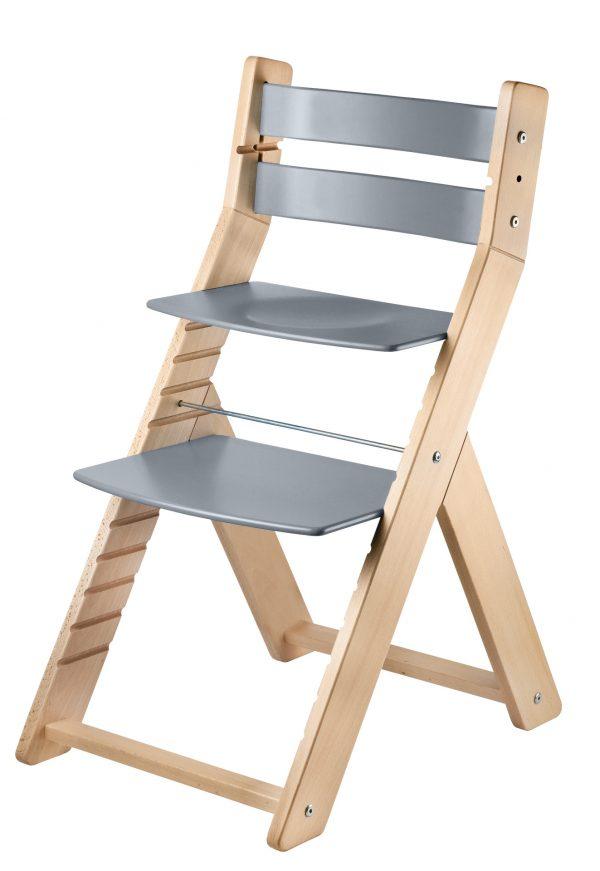 Rostoucí židle Sandy natur lak / šedá