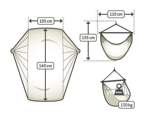 Závěsné houpací křeslo Modesta Basic - arabica rozměry