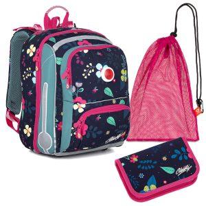 Školní set Topgal BEBE 21001 G - penál a aktovka s kytičkami, sáček na přezůvky