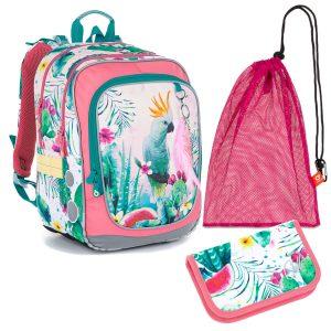 Školní set Topgal ENDY 21002 G - penál a batoh s papouškem kakadu, sáček na přezůvky