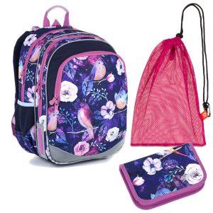 Školní set Topgal ELLY 21004 G - penál a batoh s ptáčky a kytičkami, sáček na přezůvky