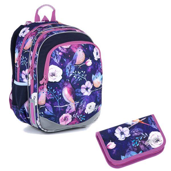 Školní set Topgal ELLY 21004 G - penál a batoh s ptáčky a kytičkami
