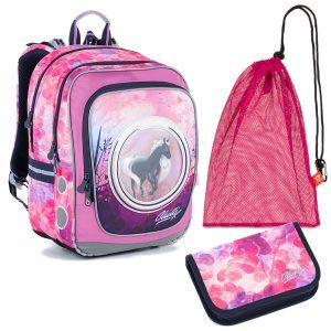 Školní set Topgal ENDY 21005 G - penál a batoh s koni, sáček na přezůvky