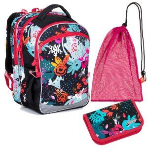 Školní set Topgal COCO 21006 G - pestrý batoh a penál, sáček na přezůvky