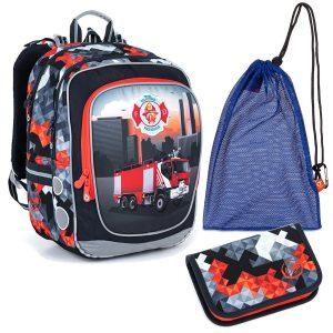 Školní set Topgal ENDY 21013 B - batoh a penál hasiči, sáček na přezuvky