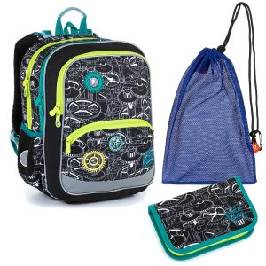 Školní set Topgal BAZI 21014 B - batoh a penál s ozubenými koly, sáček na přezůvky