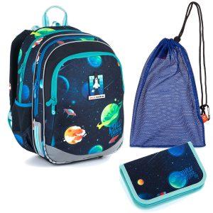 Školní set Topgal ELLY 21015 B - batoh a penál s vesmírem, sáček na přezůvky