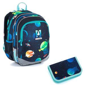 Školní set Topgal ELLY 21015 B - batoh a penál s vesmírem