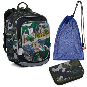 Školní set Topgal ENDY 21016 B - batoh a penál Minecraft vojenský, sáček na přezůvky