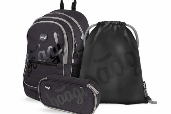 BAAGL SET 3 Black: batoh, penál, sáček
