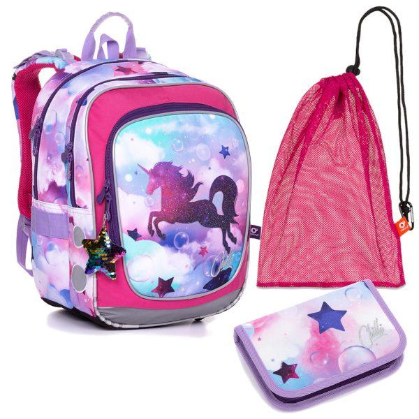 Školní set Topgal ENDY 20002 G - batoh s jednorožcem, penál a sáček na přezůvky