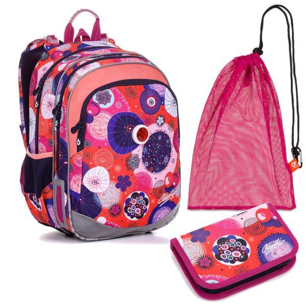 Školní set Topgal ELLY 20005 G - batoh, penál a sáček na přezůvky