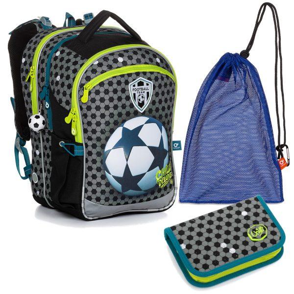 Školní set Topgal COCO 20015 B - batoh a penál s motivem fotbalového míče, sáček na přezůvky