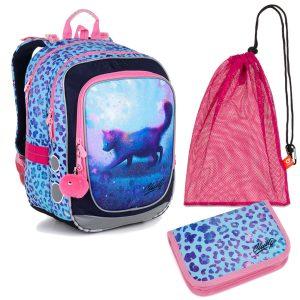 Školní set Topgal ENDY 20043 G - batoh s kočičkou, penál a sáček na přezůvky