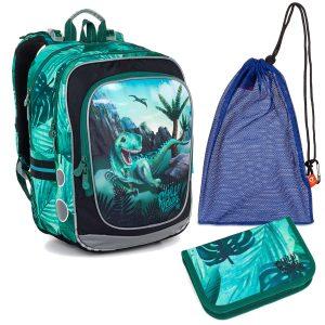 Školní set Topgal ENDY 20045 B - batoh s dinosaurem, penál a sáček na přezůvky