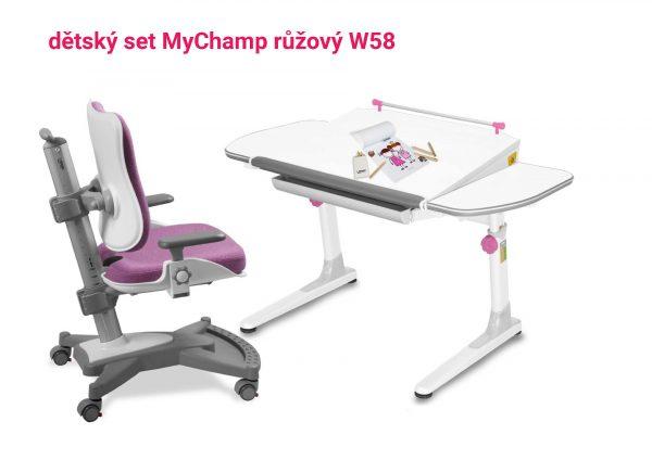 Dětský set růžová MyChamp - Profi bílý s bílou podnoží