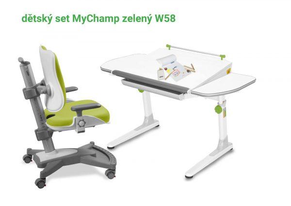 Dětský set zelený MyChamp - Profi bílý s bílou podnoží