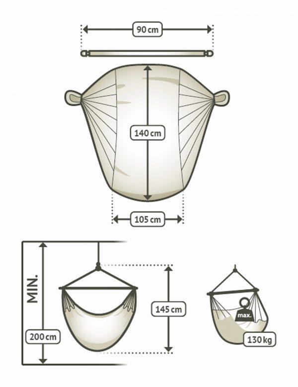 Závěsné houpací křeslo La Siesta Domingo Basic - toucan rozměry