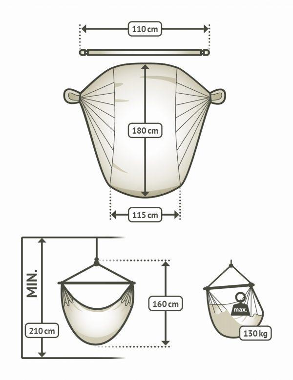 Závěsné houpací křeslo La Siesta Domingo Comfort - almond rozměry