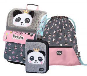 Školní set BAAGL Zippy Panda - aktovka, penál a sáček